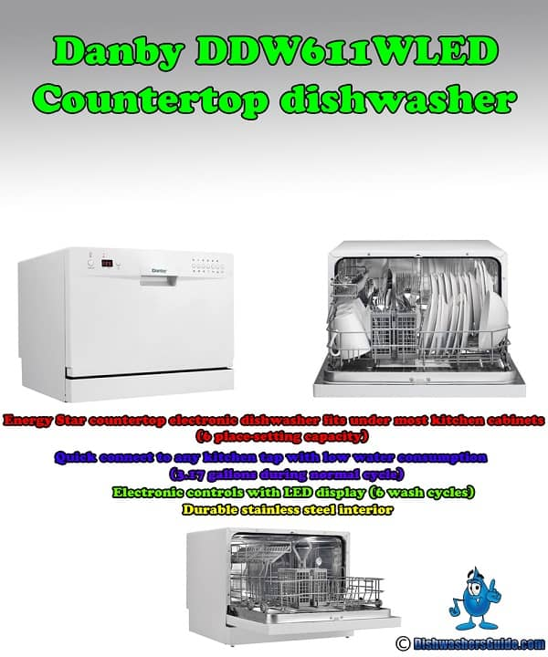 Danby DDW611WLED countertop dishwasher - Infographic
