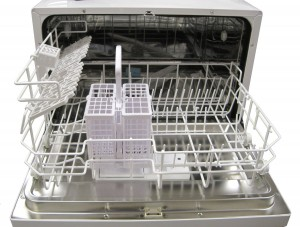 Inside the SPT Countertop Dishwasher