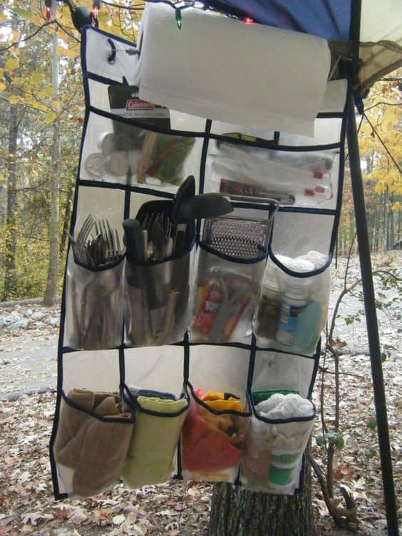 use a shoe organizer while camping