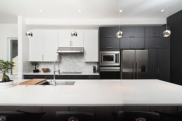Photo of a black and white kitchen